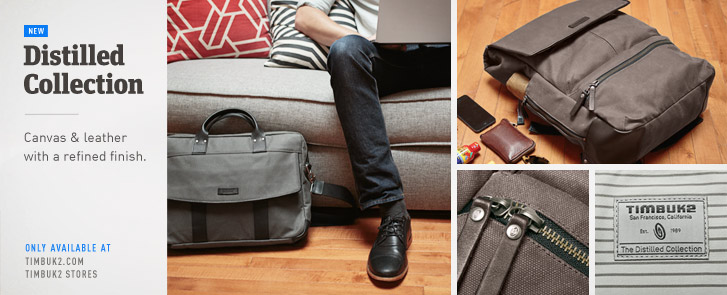 Distilled Collection. Waxed Canvas and Leather Messenger Bag, Backpack, and Briefcase with a refined finish. Details.