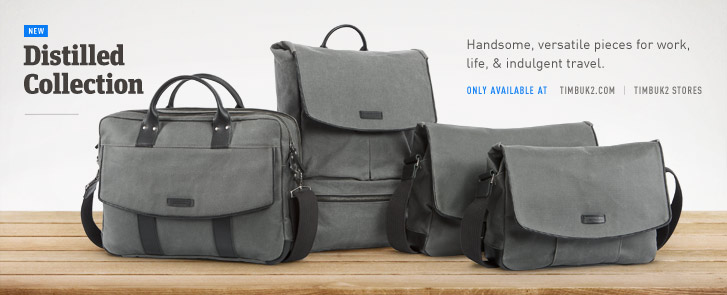 Distilled Collection. Waxed Canvas and Leather Messenger Bag, Backpack, and Briefcase with a refined finish. Photos.