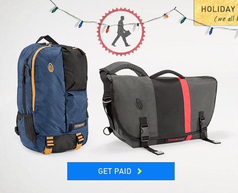Holiday Baggage. Timbuk2 Everyday Messenger Bags and Backpacks. Get Paid.