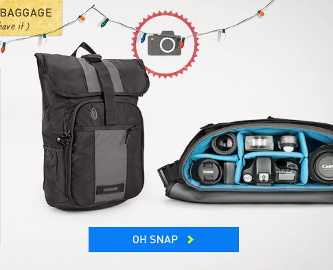 Holiday Baggage. Timbuk2 Camera Messenger Bags and Camera Backpacks. Oh Snap.