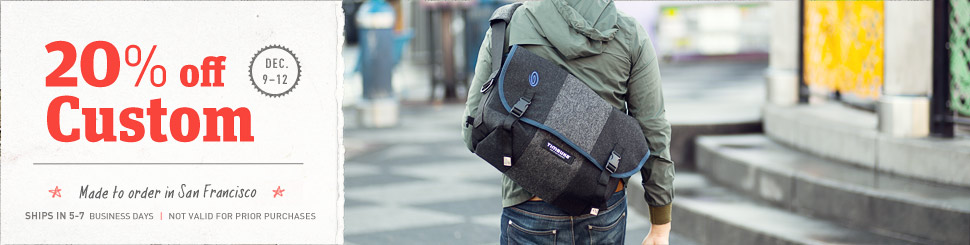 20% off All Custom Timbuk2 Messenger Bags and Custom Backpacks. Made in San Francisco.