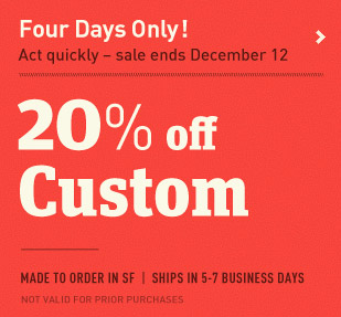 20% off Custom. Four days only December 9-12. Customize a messenger bag or backpack.