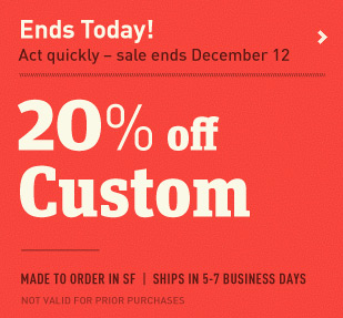 20% off Custom. Ends today December 12. Customize a messenger bag or backpack.