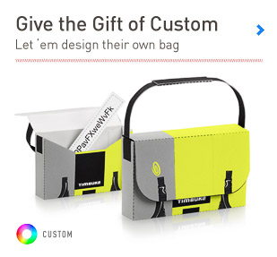 Give the Gift of Custom. Let 'em design their own bag with a gift card.'