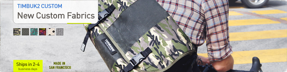 New Custom Fabrics. Custom Timbuk2 Messenger Bags and Custom Backpacks. Made in San Francisco.