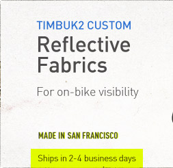 Timbuk2 Custom. Reflective Fabrics for on-bike visibility.