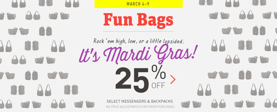 Fun Bags. Shop the Mardis Gras Sale.'